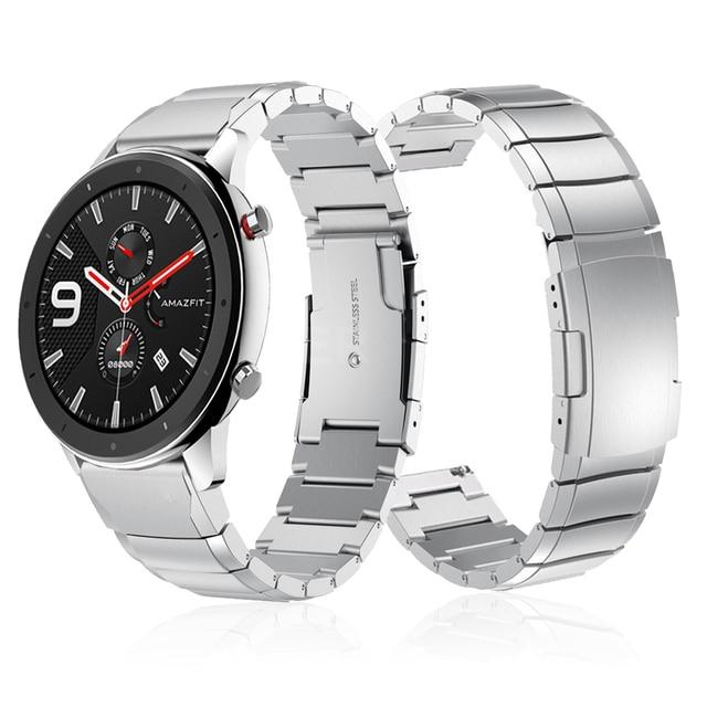For Huami Amazfit GTR 47mm Metal Stainless Steel Strap bands for huami Amazfit GTR 42mm/Pace Stratos 2 2S Bracelet watchbandWatchbands
