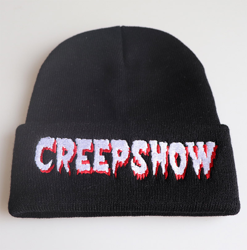 European Style Fashion CREEPSHOW Letter Embroidery Knitted Beanie Cap Men Outdoor Ski Wool Hat Black Casual Street Hip-hop Hat