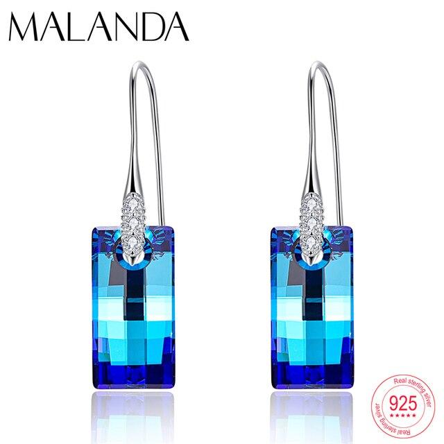 Malanda boucles doreilles cristaux de Swarovski, pendentifs urbains pour femmes, en argent Sterling, Piercing, pendentifs, mode