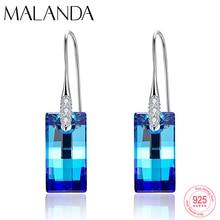 Malanda cristais de brincos de swarovski, urbano, pingente, para mulheres, moda esterlina, piercing de prata, joias de pendurar