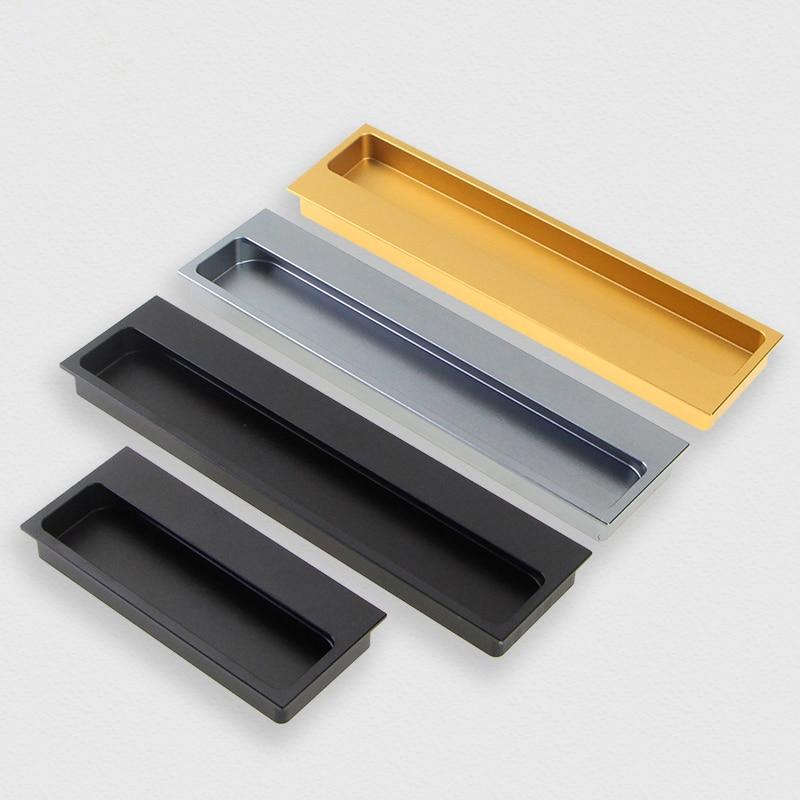 Poignée de tiroir dissimulée en aluminium or   Champagne, poignée de traction encastrée pour armoire armoire armoire porte coulissante, besoin de fente