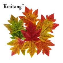100 sztuk 10cm jesienne liście sztuczne liście klonu jedwabne drzewo liście sztuczne rośliny dla domu wesele Halloween harvest Decor