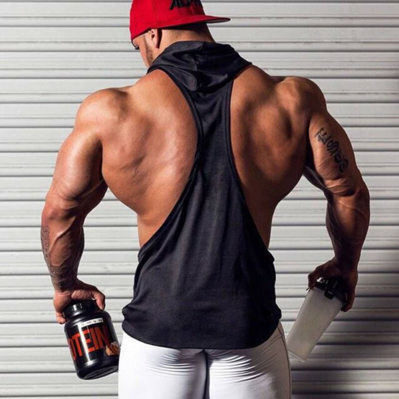 2020 Men Sleeveless Hoodie Singlet Solid Tank Tops Stringer Muscle Shirt Bodybuilding Vest|Tank Tops|   - AliExpress