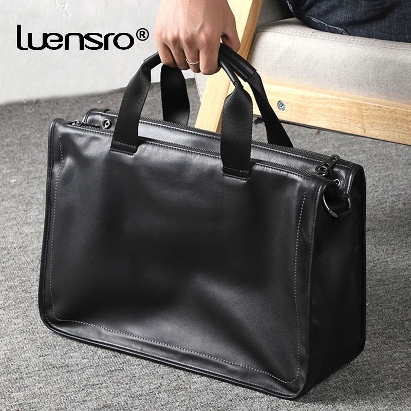 15.6 Inch Laptop Briefcase Large Men Handbag Travel Bags Men Real Leather Shoulder Bags Male Messenger Bag 2020 New Men Bag