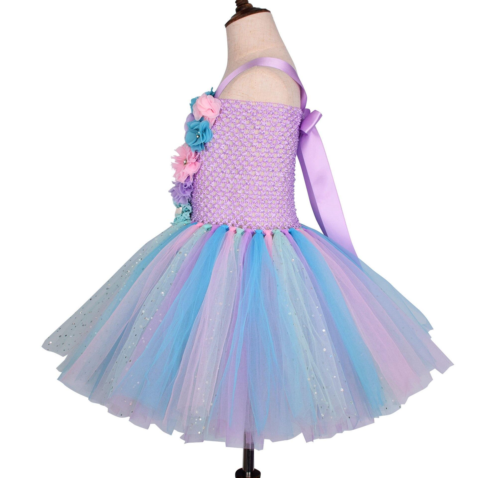 Girls Pastel Mermaid Tutu Dress Under the Sea Theme Birthday Party Costume with Flower Headband Ocean Flower Dresses 1-12Y 2