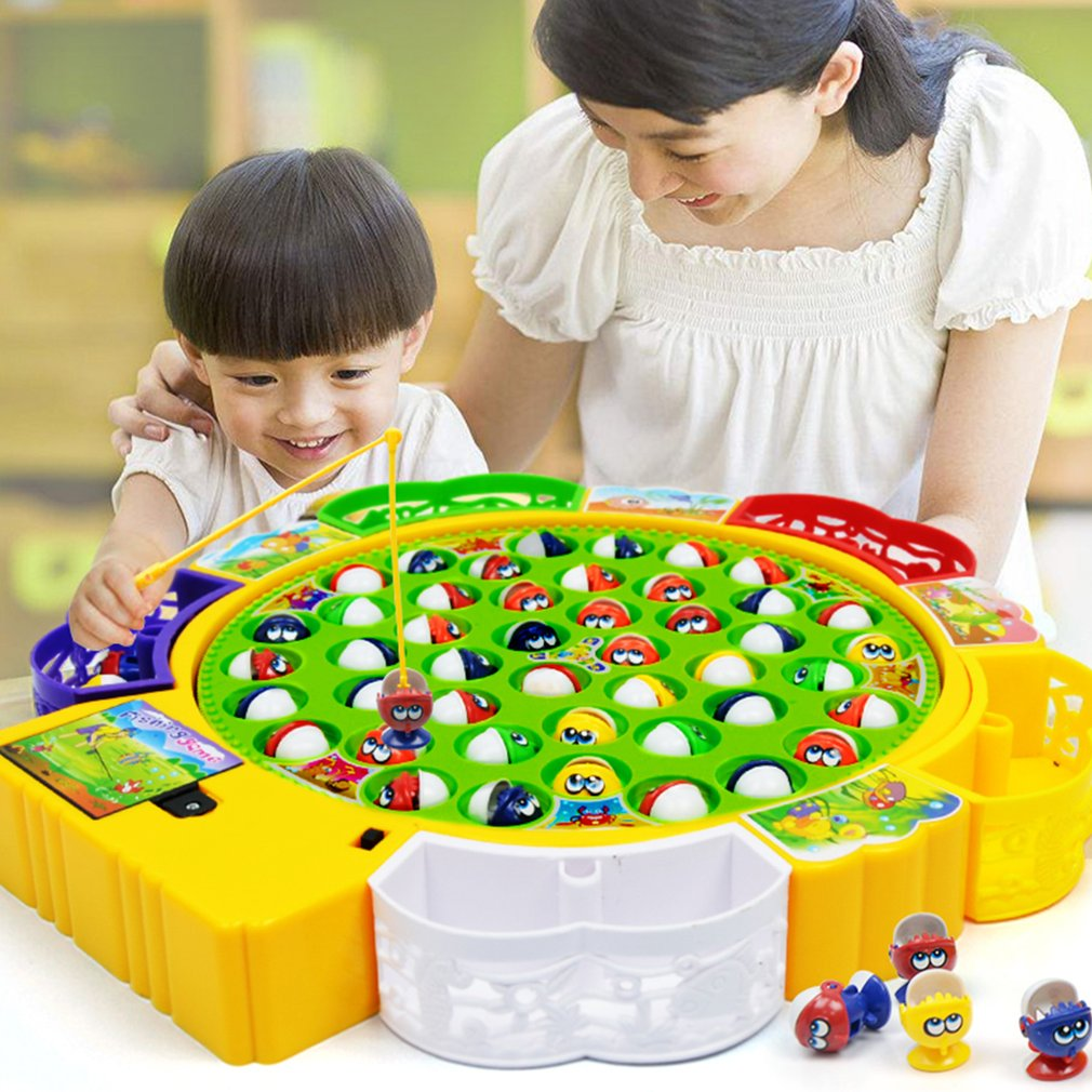 Kids Fishing Toy Musical Rotating Fishing Game 360 Degree Rotate Fish Children  Early Education Fishing Toy Outdoor Sports Toys