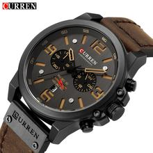 CURREN Mens Military Watches Top Brand Luxury Leather Strap Sports Waterproof Quartz Wrist Watch Date Clock Relogio Masculino