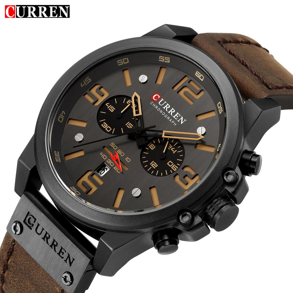 CURREN Mens Military Watches Top Brand Luxury Leather Strap Sports Waterproof Quartz Wrist Watch Date Clock Relogio Masculino image