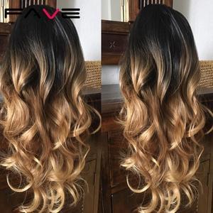Image 3 - FAVE ארוך גלי פאת Ombre שחור חום בלונד אפור סינטטי שיער חום עמיד סיבי עבור שחור/לבן נשים קוספליי/מפלגה פאות