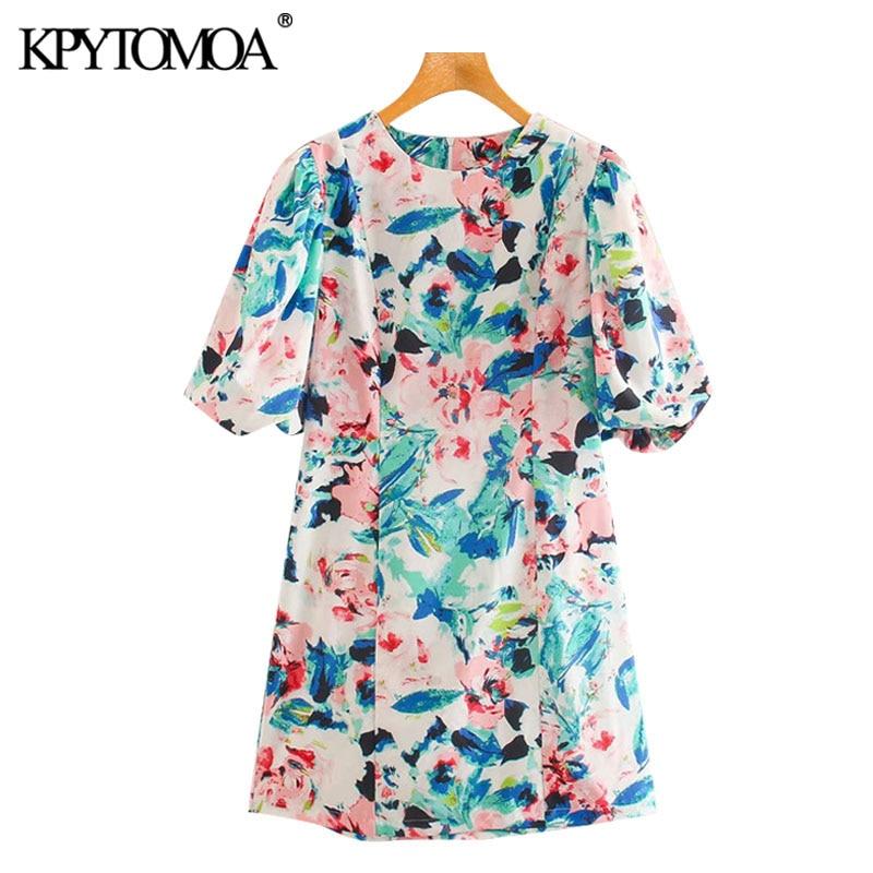 KPYTOMOA Women 2020 Chic Fashion Floral Print Mini Dress Vintage Lantern Sleeves Back Zipper Female Dresses Vestidos Mujer