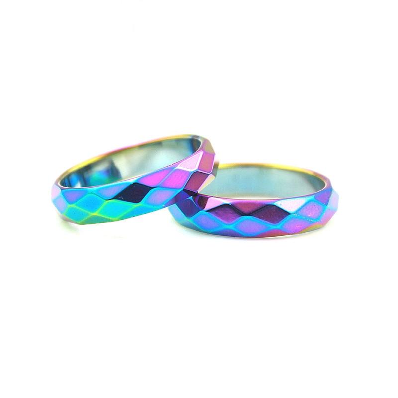 Ограненные Кольца гематит, разноцветные радужные модные ювелирные украшения в стиле панк, готика, 1 шт., 3 А, 6 мм, лучший подарок для мужчин и ж...