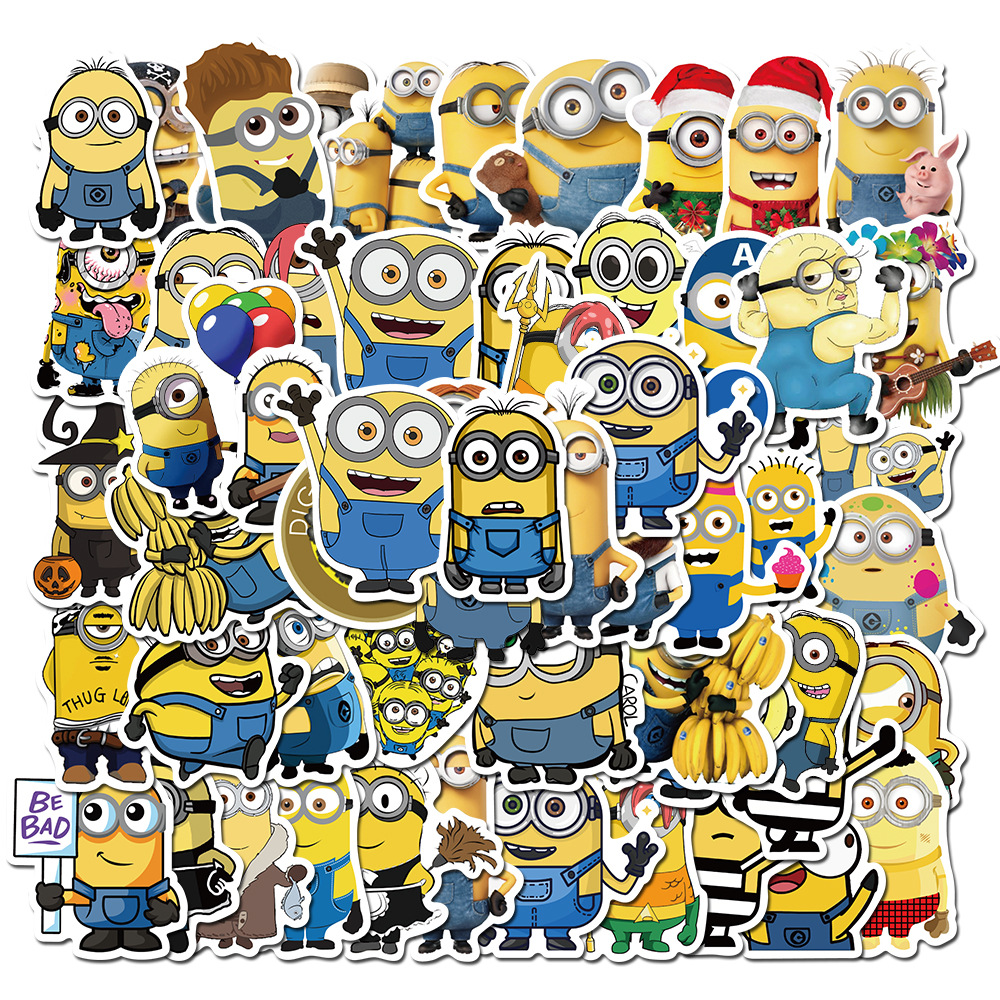 50pcs Funny Cartoon Movie Minions Stickers For Kids DIY Laptop Car Helmet Motorcycle Bicycle Guitar Sticker Classic Toy