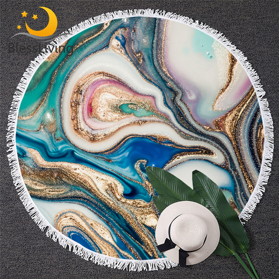 BlessLiving Marble Large Round Beach Towel for Adult Quicksand Microfiber Bath Towel Rock Stone Sunblock Blanket Cover Dropship-in Bath Towels from Home & Garden