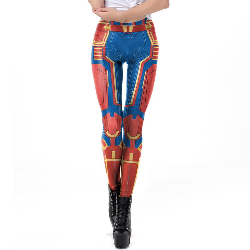 Superhero Captain Marvel Breathable Winter Leggins Women Party Cosplay Suit Camouflage 3D Prindted High Waist Push Up Leggings