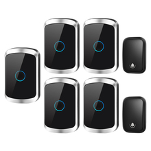 CACAZI Self-powered Waterproof Wireless Doorbell with No Battery US EU UK Plug 2 Button 5 Receiver 60 Chime Smart Home Call 220V cacazi self powered wireless doorbell no battery us eu uk au plug 2 button 5 receiver smart home chime doorbell ring bell 220v