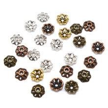 200 pçs/lote liga de zinco talão caps tibetano prata chapeado flor contas tampas de extremidade encantos para fazer jóias suprimentos 8mm