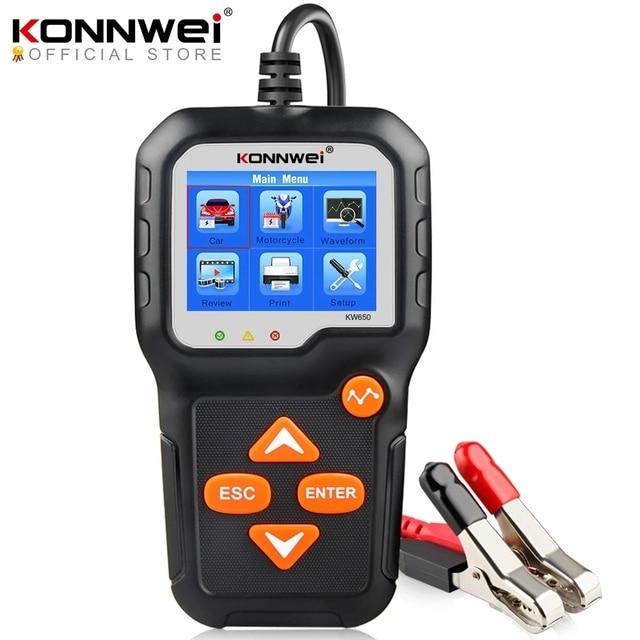 جهاز اختبار بطارية الدراجة النارية, جهاز اختبار بطارية الدراجة النارية 12 فولت 6 فولت KONNWEI KW650 محلل نظام بطارية 2000CCA أدوات اختبار الشحن كرنك للسيارة
