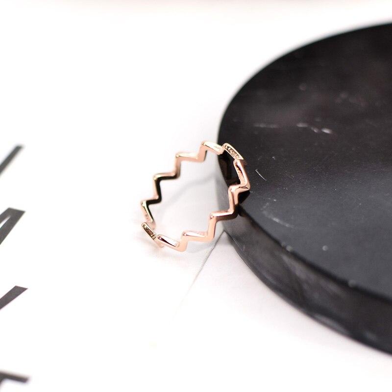 Yun ruo шик простой волновой Форма кольца розовое золото Цвет модные Титан Сталь украшения, подарок на день рождения, подарок женщине никогда н...