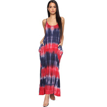 Adogirl o neck snap tank long loose dress sleeveless tie-dye maxi backless spaghetti strap beach low cut rompers