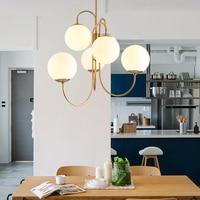 Nordic modern glass ball chandelier 6 head milk white creative lustre suspension for restaurant bar cafe dining kitchen lighting