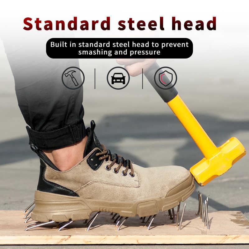 O transporte da gota de aço toe trabalho sapatos de segurança pele de porco para homem mulher anti-impacto sapatos de construção mais tamanho 37-48 rxm192