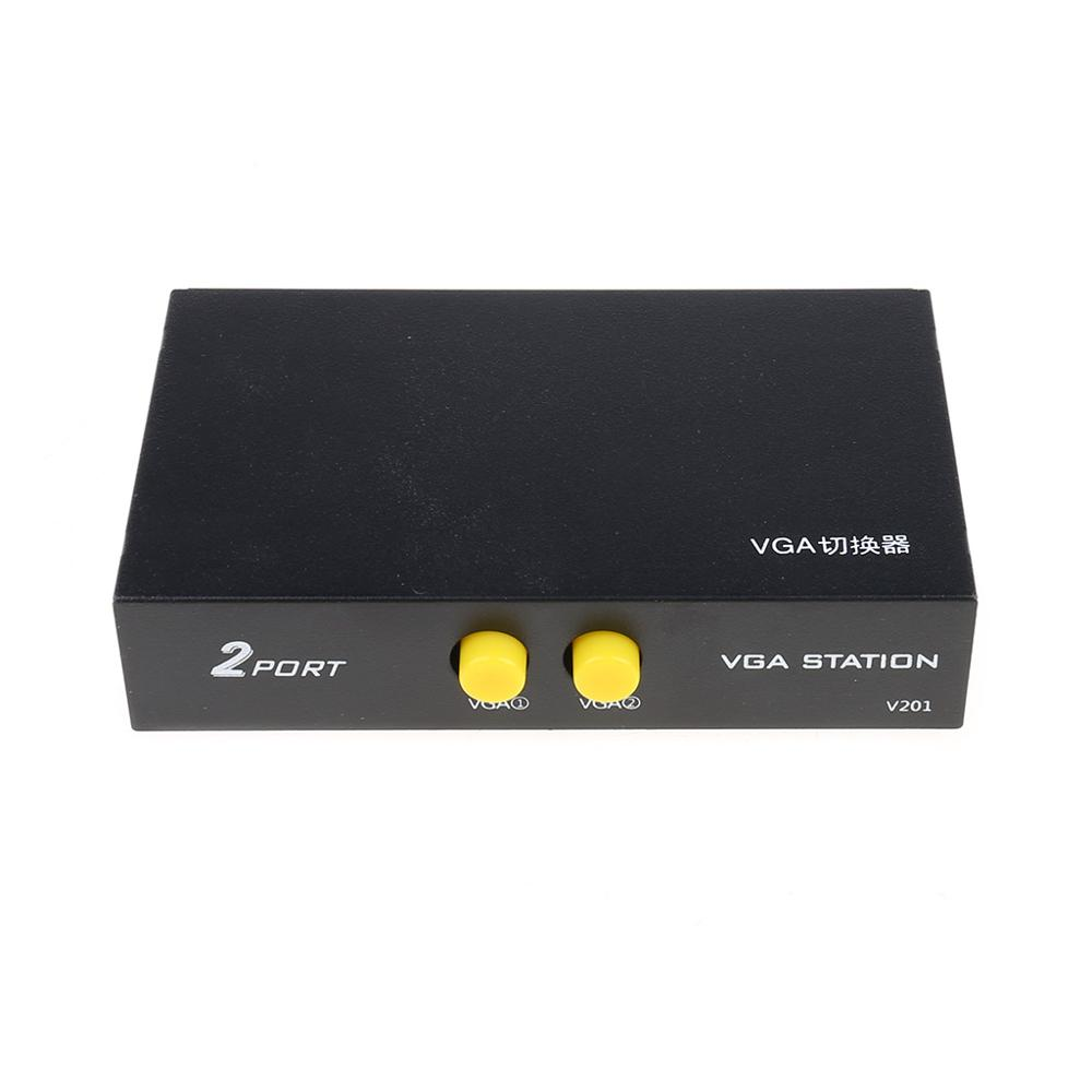 2 Ports Switcher Splitter 2 Ways VGA Video Switch Adapter Converter Box For PC Monitor Accessories