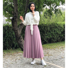 Pleated-Skirt Clothing Abaya Longa Muslim Fashion for Women Jupe Plissee Femme Falda