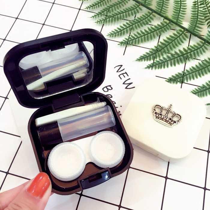 Estuche para lentes de contacto bonito conjunto de lentes de viaje con diseño de corona con soporte de lentes espejo para lentes de contacto