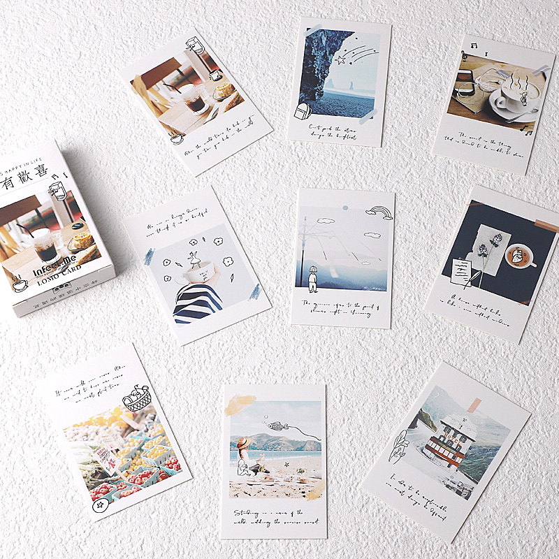28 Sheets/Set Creative Always Happy In Life Lomo Card Mini Postcard Greeting Card Christmas Gifts