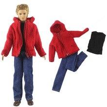 1set Black Tank Denim Trousers Pants Red Fur Coat for Ken Boy Doll Clothes Outfits Suit Clothing for Barbie's Boyfriend Ken
