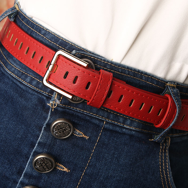 105cm 2020 New Design Faux Leather Belt Female Hollow Out Pin Buckle Belts Women Waistband Solid Retro Jeans Dress Waist Strap