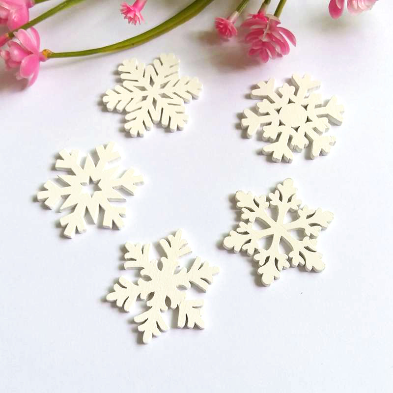 50 30 White wooden snowflake buttons for Christmas cardmaking 5 10 20