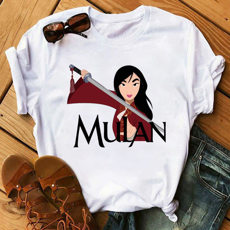 Ms summer new fashion mulan cartoon printing short sleeve shirt t-shirts leisure ins