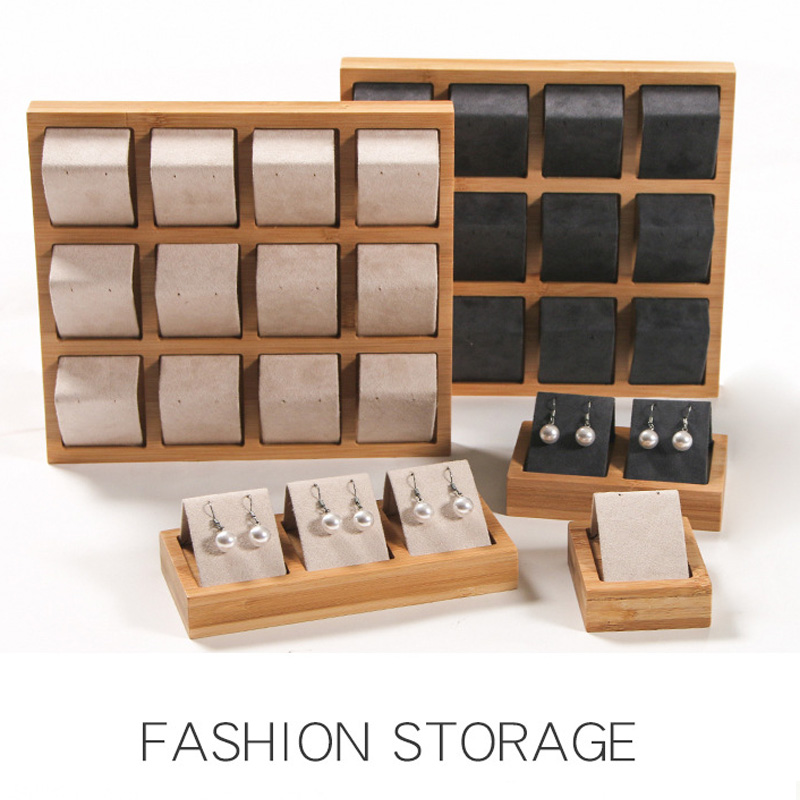Luxury Bamboo Wood Earrings Display Tray 4 Sizes To Choose For Woman Earrings Display Stand Jewelry Display Tray