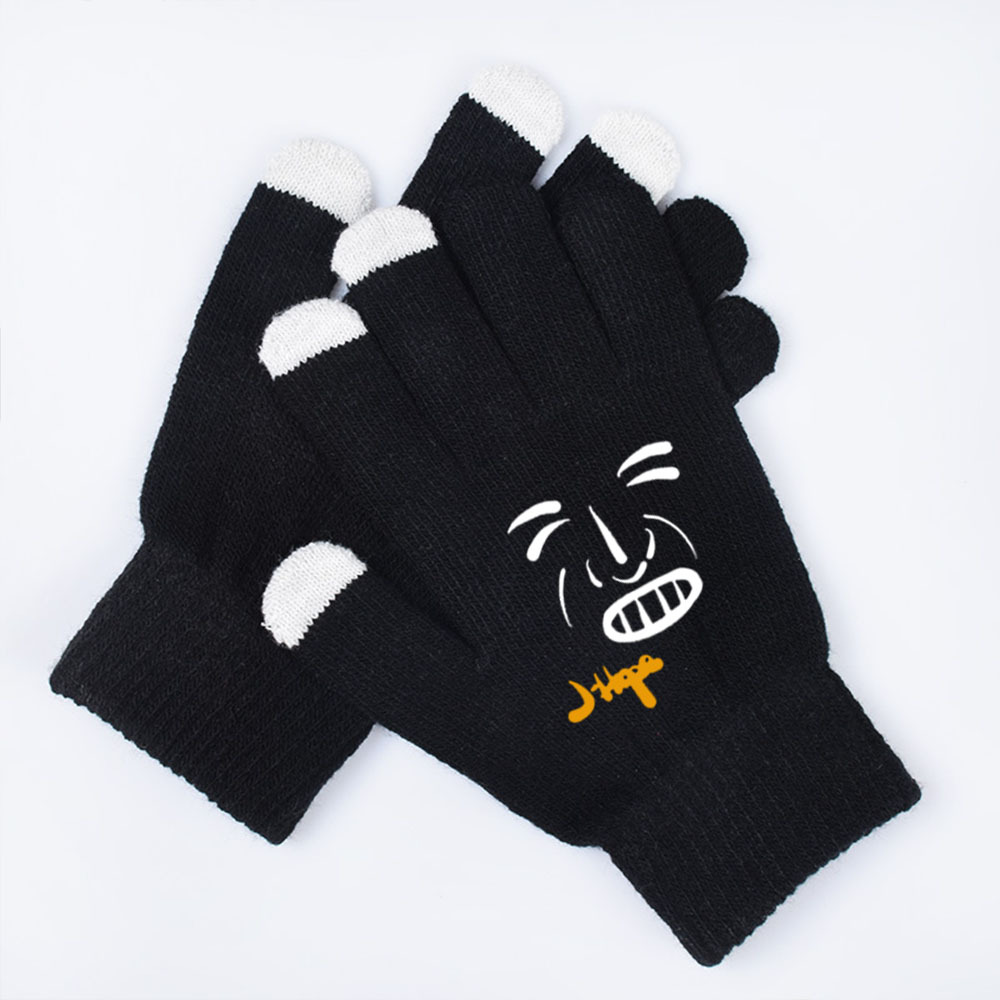 New Kpop Bangtan Gloves Full Finger Touch Screen Gloves Keep Warm And Cold Gloves Mittens Jimin Jungkook Suga V RM Winter Gloves