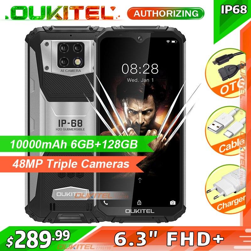 OUKITEL WP6 6 ГБ 128 10000 мА/ч, IP68 Водонепроницаемый прочный мобильный телефон 48MP задние тройные Камера смартфон