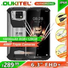 Oukitel wp6 6gb + 128gb 10000mah ip68 impermeável áspero telefone móvel 48mp câmera traseira tripla smartphone