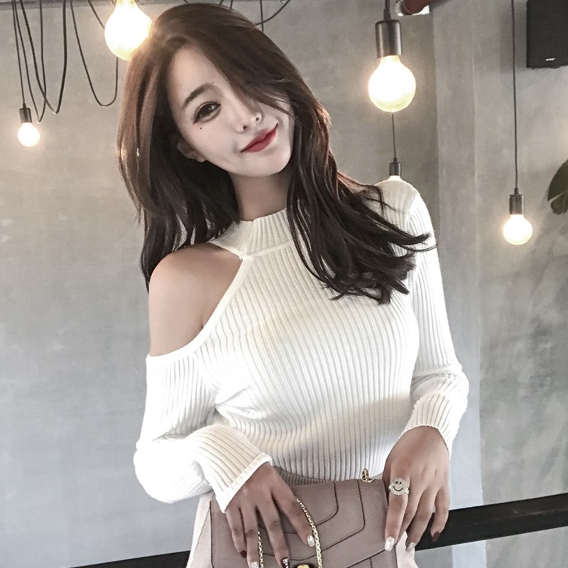Winter Female Pullover Sweaters Tops Slim Spring Autumn New Knitted Sweater Long Sleeves Half Off The Shoulders Sexy Sweater