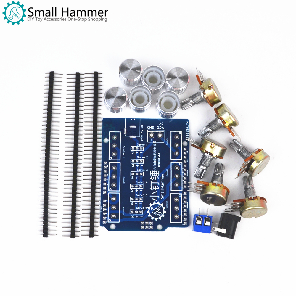 Small hammer 6DOF mechanical arm servo potentiometer set knob control board arduino expansion board