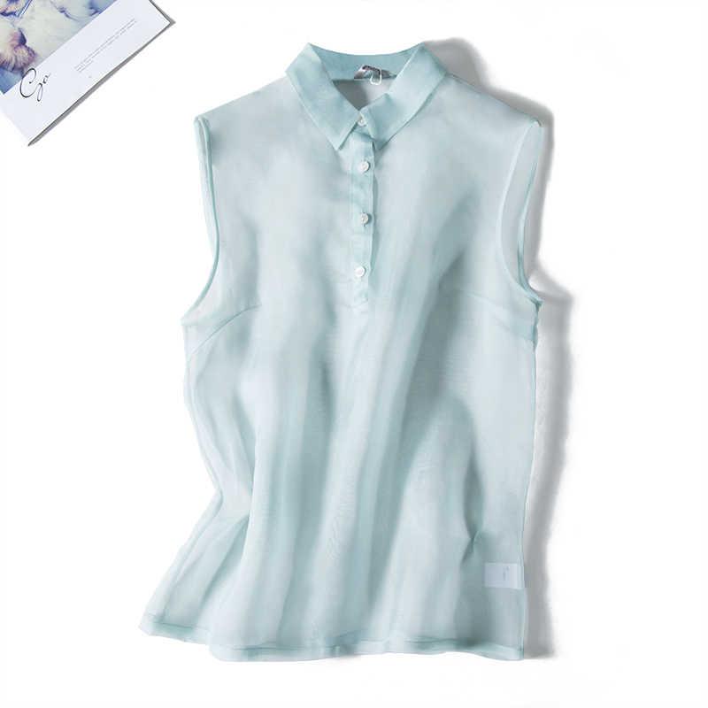 2020 Sleeveless Summer Women's Shirt Peter Pan Collar Organza Office Lady Solid Tops Feminino See Through lovely women's blouses