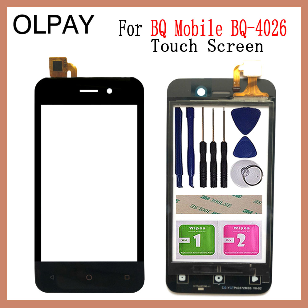 OLPAY 4.0'' For BQ Mobile BQ-4026 BQ 4026 Touch Screen Glass Digitizer Panel Lens Sensor Glass Free Adhesive And Wipes