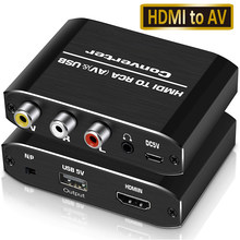 Navceker HDMI-compatible to RCA Converter AV/CVSB L/R Video Box HD 1080P 1920*1080 60Hz HDMI2AV Support NTSC PAL Output HDMIToAV