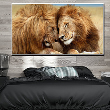 Animal Art Lion HD Print Canvas Painting Couple Lovers Minimalist Wall Prints and Posters Pictures Home Decor