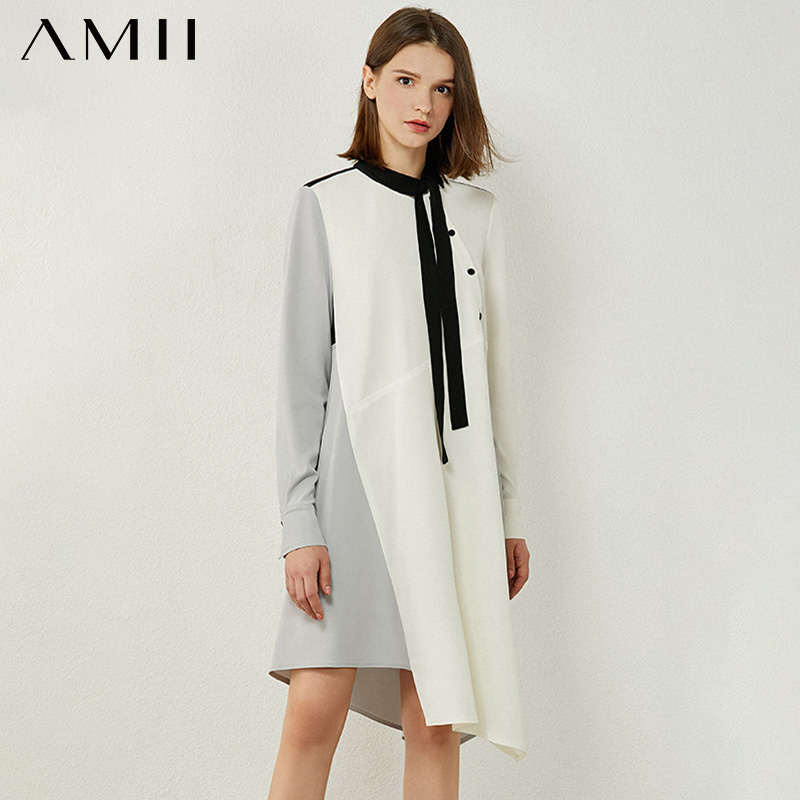 AMII Minimalism Autumn Women's Dress Fashion Spliced Bow Neck Loose Aline Dresses For Women Irregular Hem Female Dress 12020231