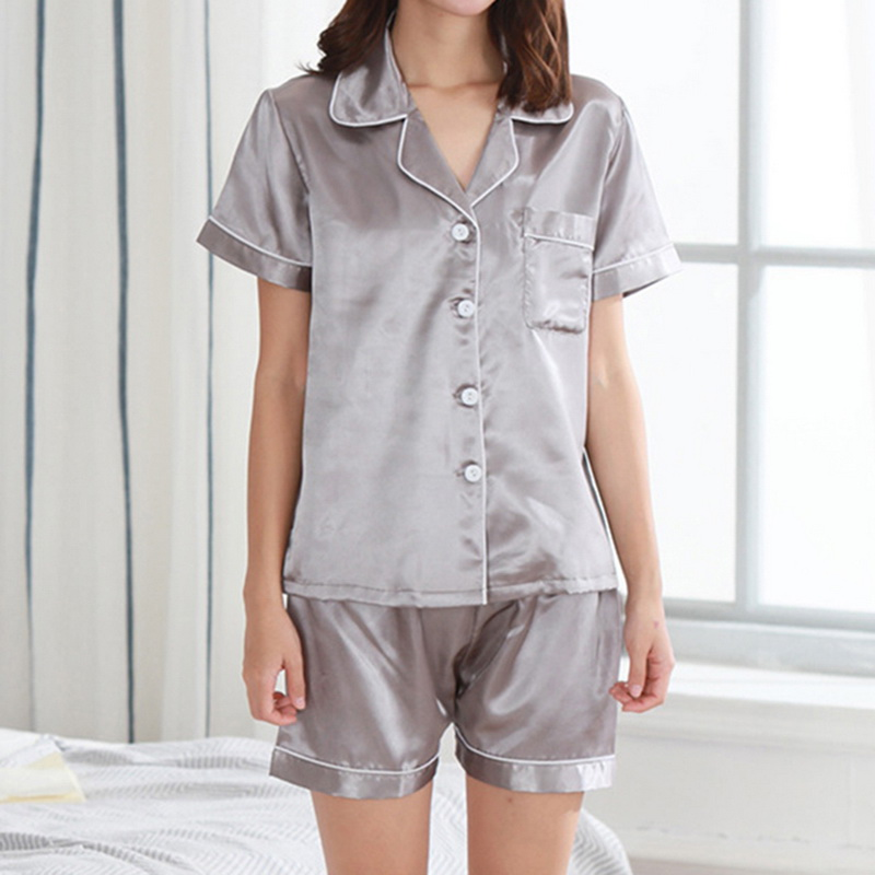 Women Pajamas Set  Girl Silk Satin Pyjama Sleepwear Nightwear Loungewear Homewear Solid Color Comfortable Soft High Quality Hot