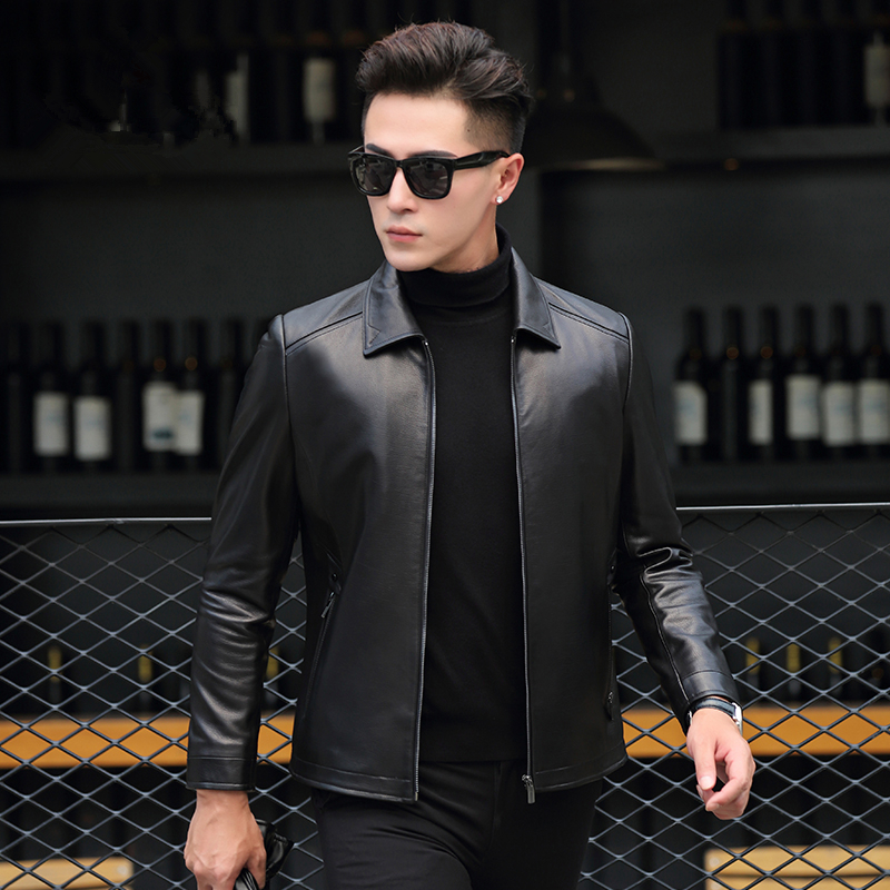 Men's Leather Jacket Autumn Winter Genuine Sheepskin Coat Casual Slim Leather Jackets Chaqueta Cuero P-B111 ZL950