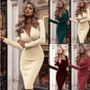 Women's Dress Autumn Winter Casual Solid Color Long Sleeve Elegant Office Lady Dress Sexy Deep V-Neck Bodycon Pencil Party Dress 1