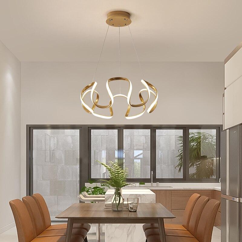 New Gold Or Coffee Color Modern Led Pendant Lights For Dining Room Bar Kitchen Aluminum Hanging Led Pendant Lamp Fixture 90-260V