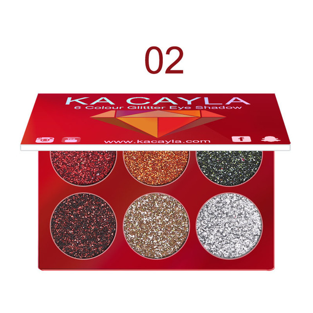 6 Colors Glitter Eyeshadow Palette Diamond Glitter Metallic Pigment Waterproof Long-lasting Eye Shadow Kit Makeup Palette TSLM1 2