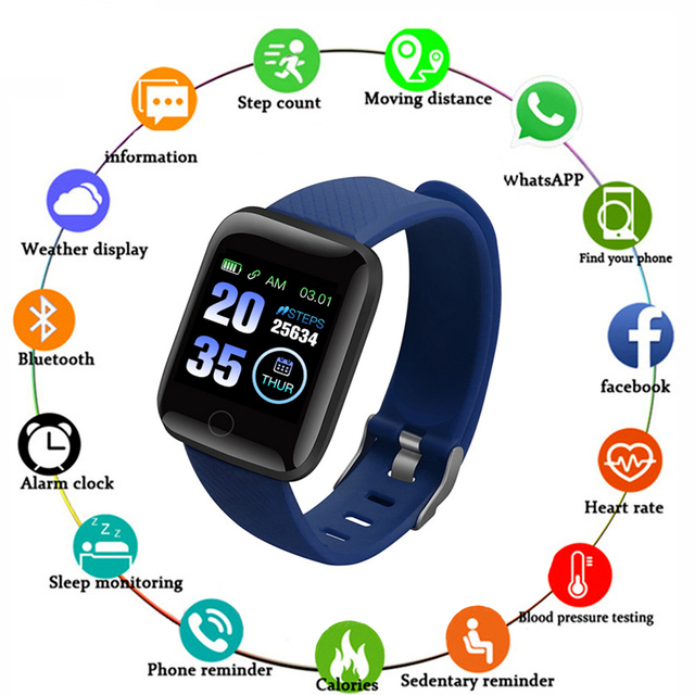 New 116plus Smart Watch Men Women Heart Rate Monitor Blood Pressure Fitness Tracker Smartwatch Sport Watch for ios android +BOX
